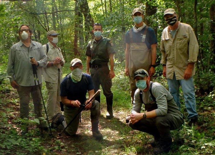 Group of men who particpated in the brook trout study